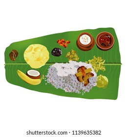 illustration of festival onam  food tamil meal on green banana leaf with rice banana and coconut