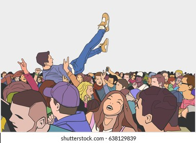 Illustration of festival party and crowd surfing