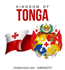 illustration festive banner with flag of The Kingdom of Tonga. Card with flag and coat of arms Happy The Kingdom of Tonga Day 2018. picture banner november 4 of foundation day