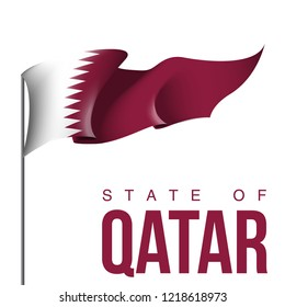 illustration festive banner with flag of The State of Qatar. Card with flag  Happy The State of Qatar Day 2018. picture banner december 18 of foundation day