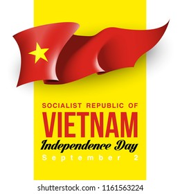 illustration festive banner with state flag of The Socialist Republic of Vietnam. Card with flag and coat of arms Happy The Socialist Republic of Vietnam Day 2018. picture banner september 2