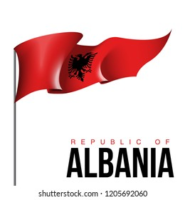 illustration festive banner with state flag of The Republic of Albania. Card with flag and coat of arms Happy Republic of Albania Day 2019. picture banner november 28 of foundation day