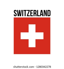 illustration festive banner with state flag of Confederation Switzerland. Card with flag and coat of arms Happy Swiss Confederation Day 2019. picture banner august 1 of foundation day