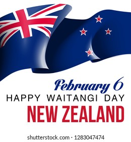 illustration festive banner with state flag of The New Zealand. Card with flag and coat of arms Happy New Zealand Waitangi Day 2019. picture banner February 6 of foundation day