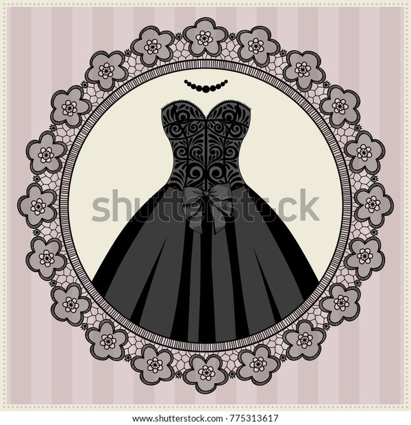 Illustration Festive Dress Lace Frame Can Royalty Free