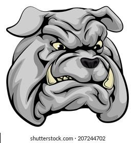 An illustration of a fierce bulldog animal character or sports mascot