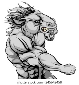 An illustration of a fierce horse animal character or sports mascot punching