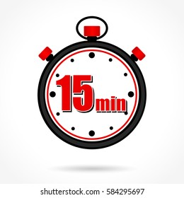 Illustration of fifteen minutes stopwatch on white background