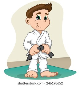 Illustration is a fighter child Character martial arts, judo, karate, jujitso, taekwondo. Ideal for sports and institutional information