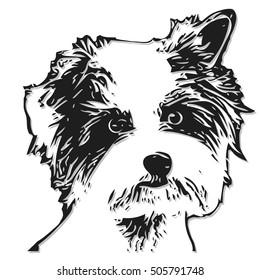 Illustration Figure Little Dog on a White Background