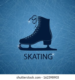 Illustration with figure skate on a ice rink textured background