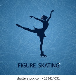 Illustration with figure skater on a ice rink textured background