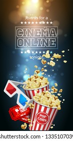 Illustration for the film industry. Popcorn, glasses and  tickets on a background with highlights.  3D vector. High detailed realistic illustration