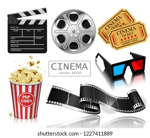 Illustration for the film industry. Popcorn, reel, film and clapperboard. Highly detailed illustration.