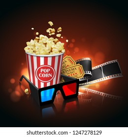 Illustration for the film industry. Film, popcorn and tickets on the cinema screen. Highly detailed illustration