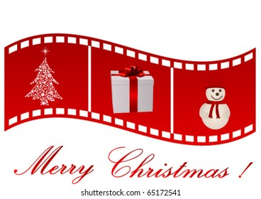 Illustration of a film strip with Christmas symbols