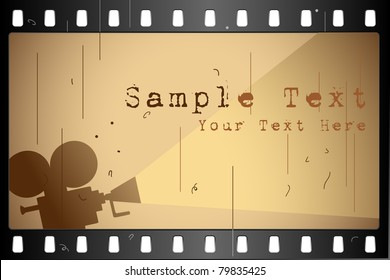 illustration of film strip frame on abstract background