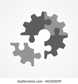 Illustration of the final piece of puzzle which forming a gear