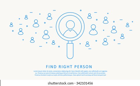 Illustration of find right person thin blue line design infographic concept
