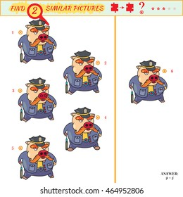 Illustration of Finding the Same Picture Educational Game for Preschool Children. Visual puzzle for children. Find two identical pig policeman