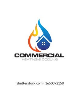 Illustration of Fire and Cooling logo design template