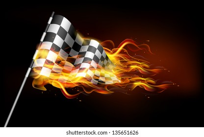 illustration of fire flame in race flag