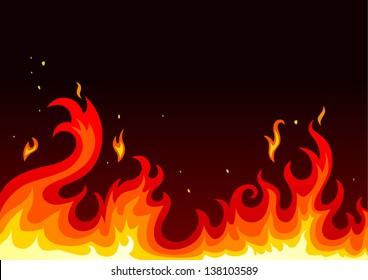 Illustration of fire on dark background