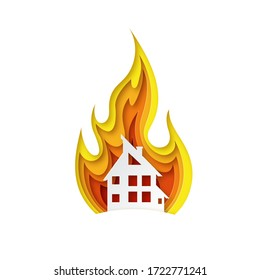 Illustration of fire in paper cut style. The house is on fire. Design for property insurance. Vector illustration