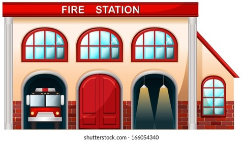 Illustration of a fire station building on a white background
