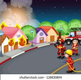 Illustration of a fire at the village
