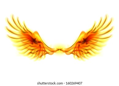 Illustration of fire wings on white background.