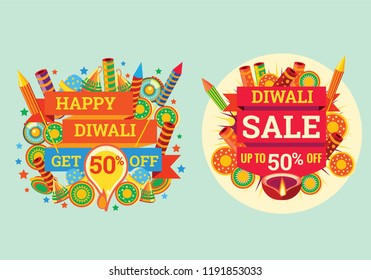 Illustration of firecrackers with text and sale poster template. Navaratri , is a nine nights (and ten days) Hindu festival, celebrated in the autumn every year.