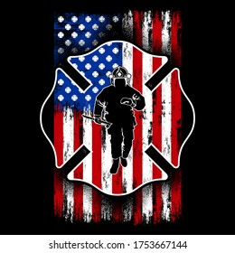 Illustration Firefighter Flag Shield, with a Firefighter silhouette man, fireman, usa flag, american firefighter