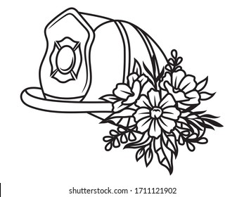 Illustration firefighter helmet with flower decoration. Silhouette of a protective helmet of a fireman with a floral wreath.Profession for saving people. Vector illustration on a white background.