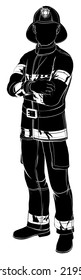 An illustration of a fireman or fire fighter standing with arms folded in silhouette