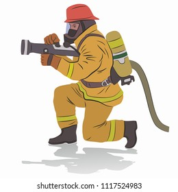 illustration of a fireman with a fire hose, colored drawing, white background