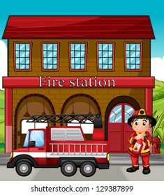 Illustration of a fireman with a fire truck in a fire station