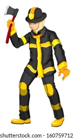 Illustration of a fireman on a white background