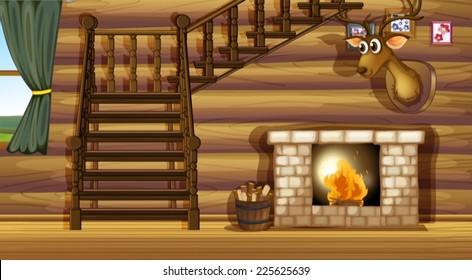 Illustration of a fireplace inside a house