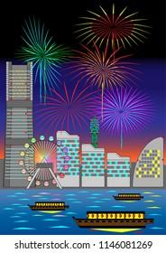 Illustration of fireworks in Yokohama, Japan.