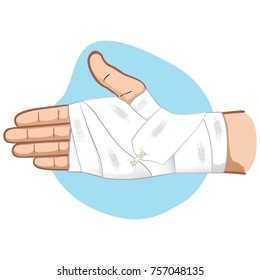 Illustration first aid hands with bandage bandage in the palm and wrist region, caucasian. Ideal for medical, informative and institutional catalogs