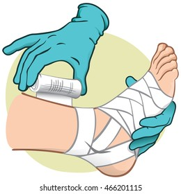 Illustration First Aid person caucasian, standing side view, bandaging the feet, hands with gloves. Ideal for catalogs, information and medical guides