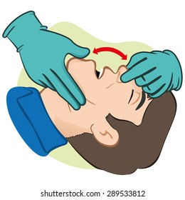 Illustration First Aid person opening the mouth clearing airway with gloves. Ideal for catalogs, informative and medical guides.