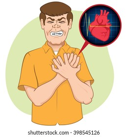 Illustration is first aid person suffering a heart attack. Ideal for relief tutorials and medical manuals