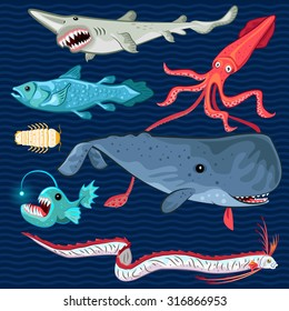 Illustration Fish Of The Deep Blue Sea Collection Set Contains sperm whale, oarfish, coelacanth, giant isopod, goblin shark, colossal squid, anglerfish