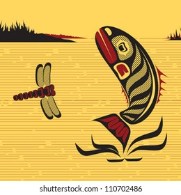 illustration of a fish and a dragonfly jumping in the water in native Canadian art style