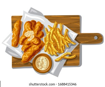 illustration of the fish fingers with fried potato chips and sauce