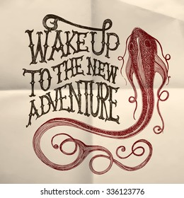 "Illustration of a fish with ""Wake up to the new adventure"" hand drawn quote on the white paper textured background"