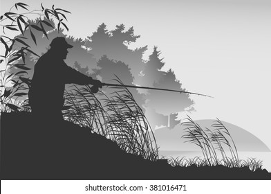 illustration with fisherman silhouette near forest lake