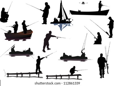 illustration with fishermen collection isolated on white